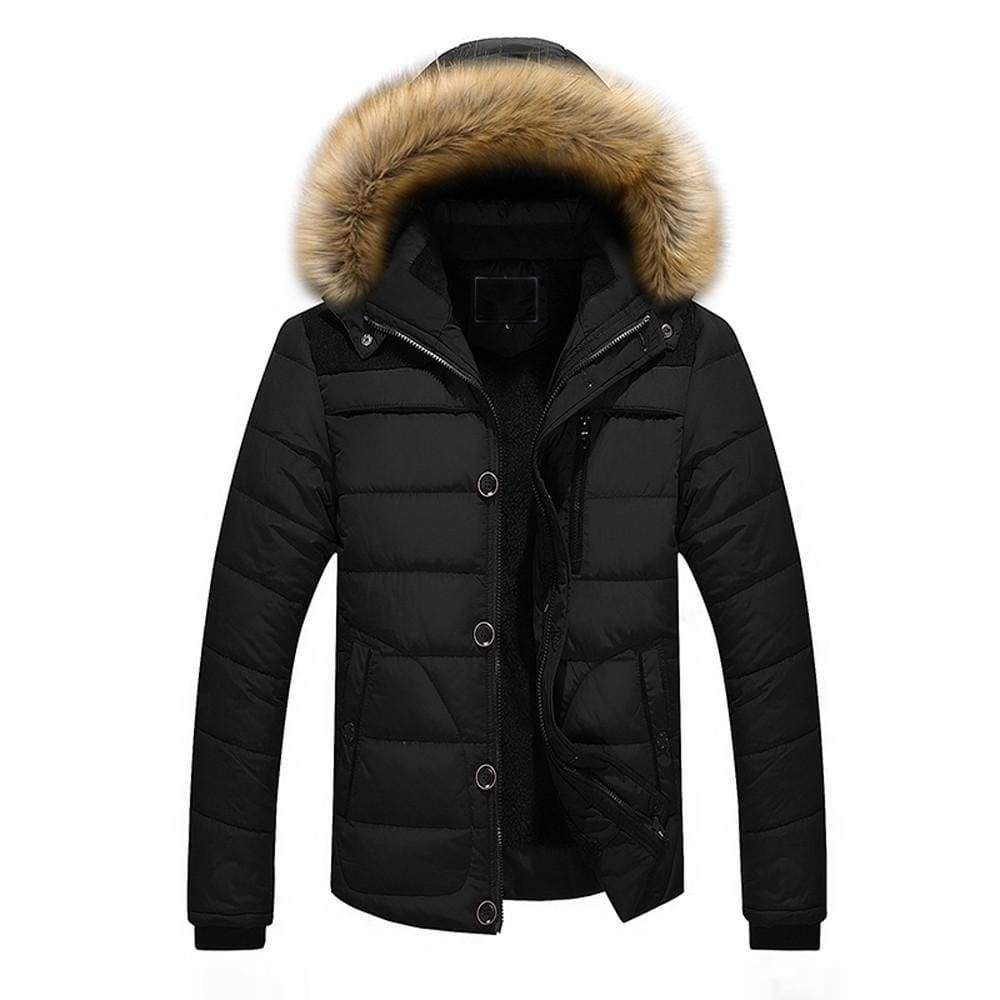 Men Outdoor Warm Winter Thick Jacket Plus Fur Hooded Coat