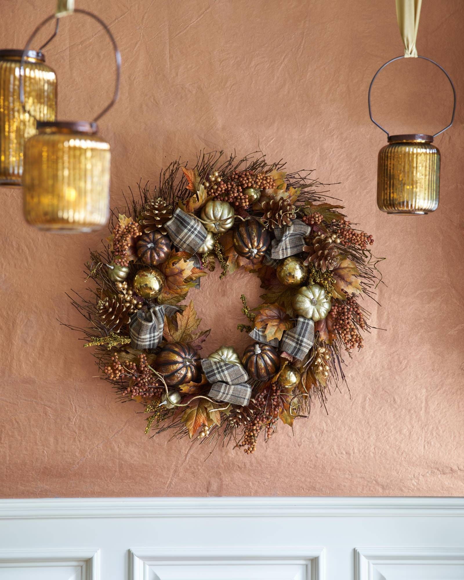 Autumn Shimmer Wreath, Teardrop And Candle Holder - Balsam Hill