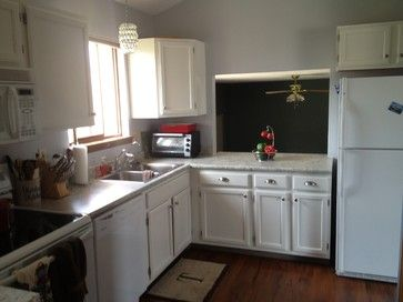 Updated an 80s kitchen - Houzz Painting cabinets updates ...
