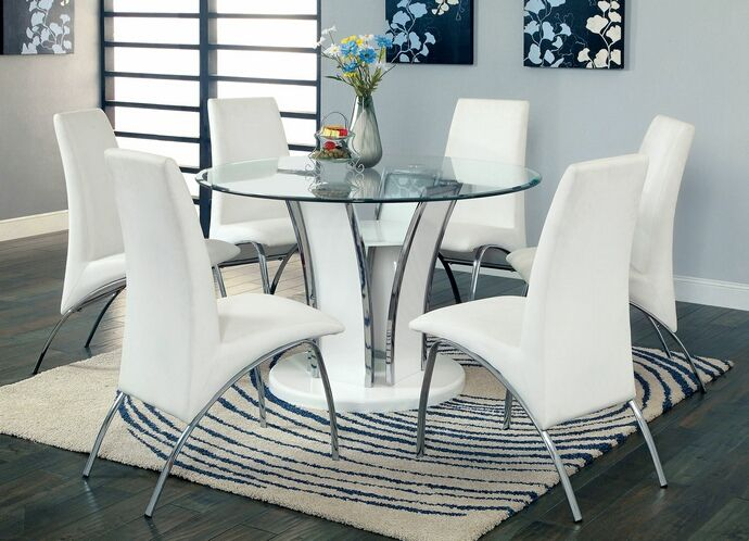 round glass dining table chrome legs. 5 pc glenview collection contemporary style white finish wood chrome trim base with round beveled glass · top dining tabledining table legs