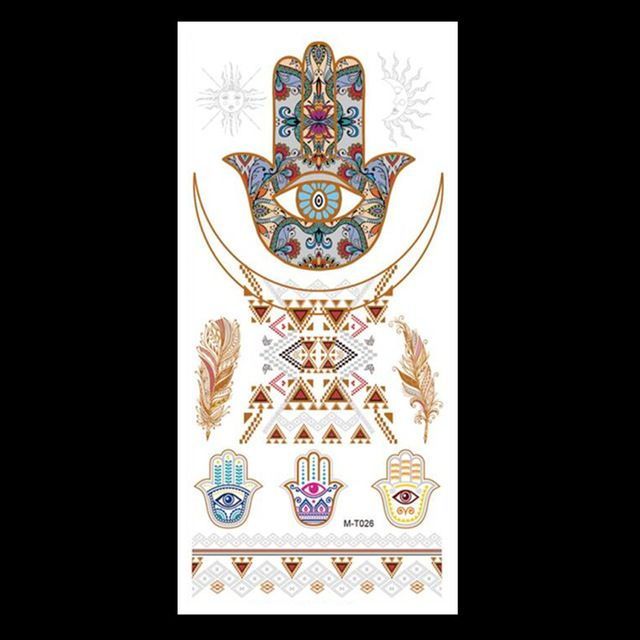M-T026 Wholesale Body Paint tattoo taty Glitter gold tattoo stickers Metal temporary flash tattoos Arabic Henna Tattoo