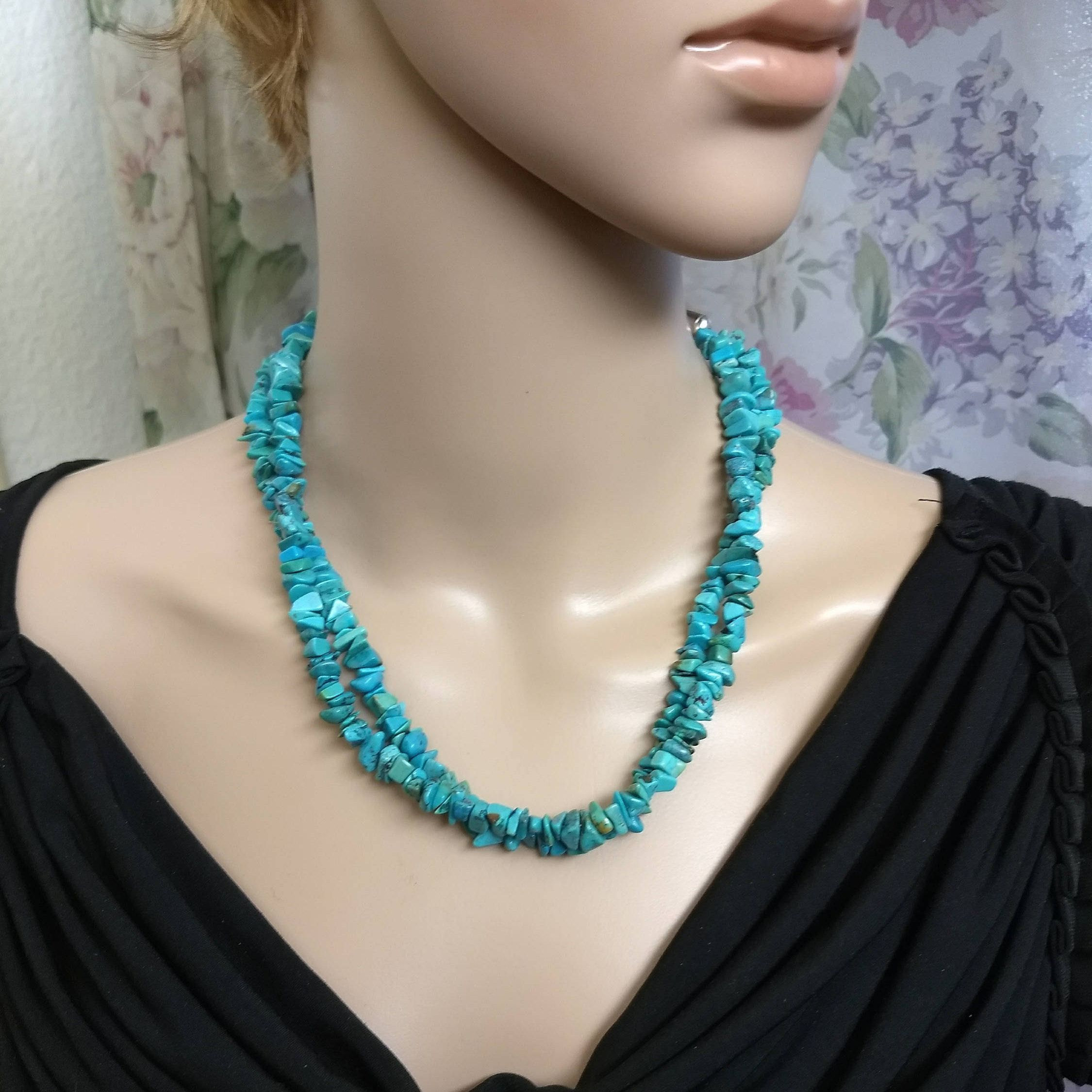 Carolyn Pollack RELIOS Turquoise Sterling Navajo Style Necklace ~ Vintage Relios Double Strand Turquoise Stone Sterling Southwest Necklace by JewelryGenealogy on Etsy