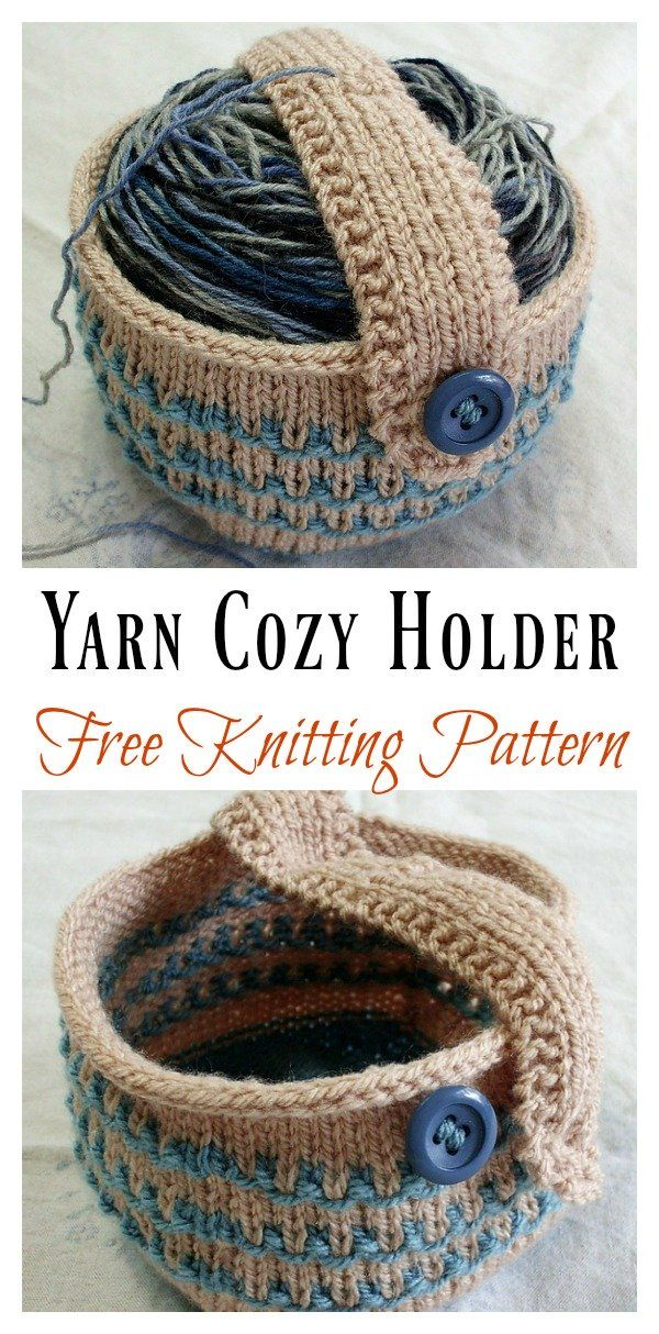 Yarn Cozy Holder Free Knitting Pattern #diyyarnholder