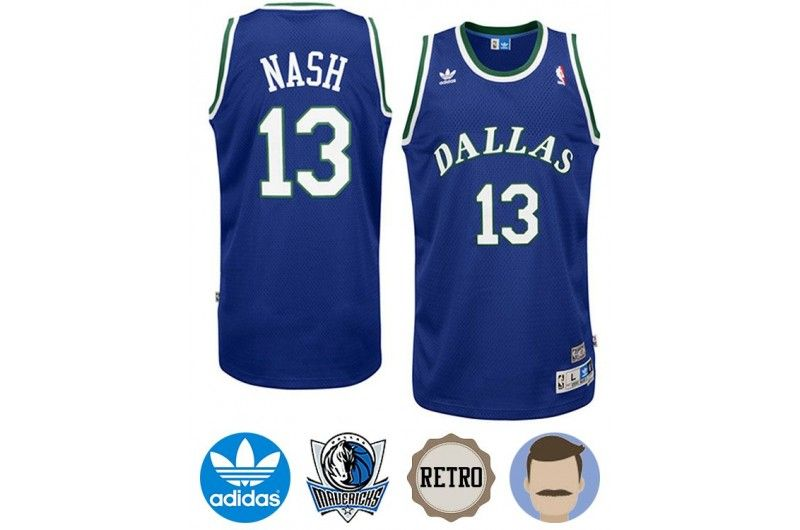 the latest 95f2e bfa54 dallas mavericks 13 steve nash light blue swingman throwback ...