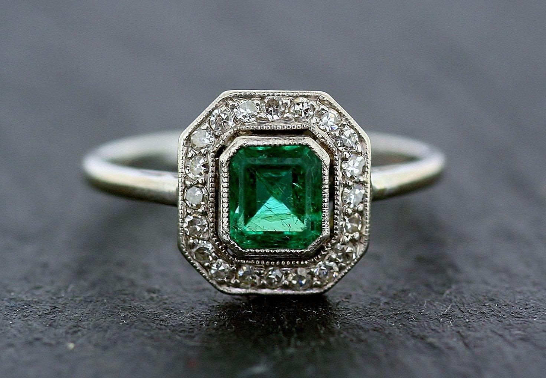 Art Deco Emerald Ring Antique Emerald Amp Diamond 18ct