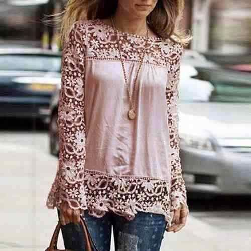 blusa camisa seda manga longa renda importada feminina  edd980d1923
