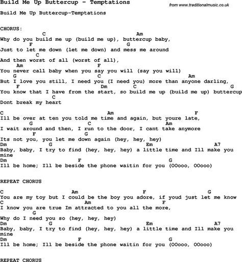 Song Build Me Up Buttercup By Temptations With Lyrics For Vocal