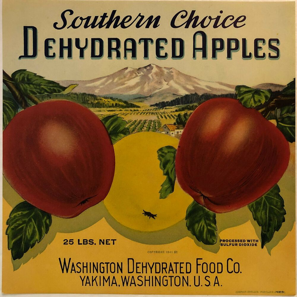 Southern Choice Vintage 1941 Yakima Washington Dehydrated Apples Crate Label Southernchoice Cratelabel In 2020 Vintage Fruit Crate Label Crate Label Vintage Apple