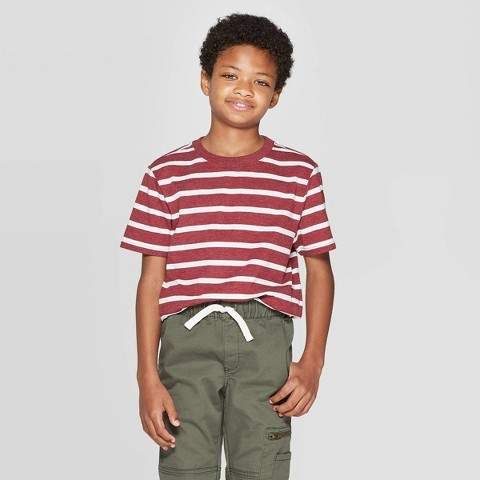 Spring/&Gege Boys Cotton Short Sleeve Striped Crew Neck T-Shirt