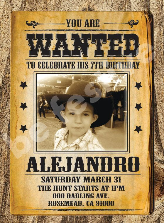 cowboy wanted poster invitation printable by befestive on