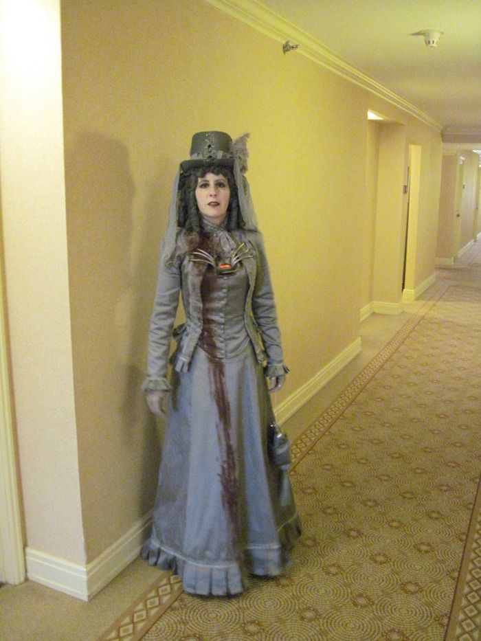 Alisa in her Victorian Ghost Costume Gears,Goggles and Steam OH - halloween ghost costume ideas