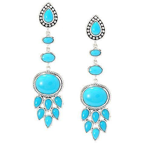 "144-597 - Artisan Silver by Samuel B. 2.25"" Sleeping Beauty Turquoise Textured Drop Earrings"