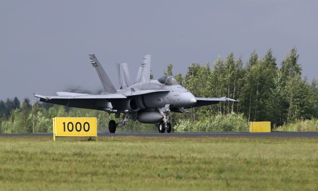 Finnish Air Force McDonnell Douglas F/A-18 Hornet at Tour-de-Sky airshow at Kuopio, Finand. (Photo by Fyodor Borisov/Transport-Photo Images)