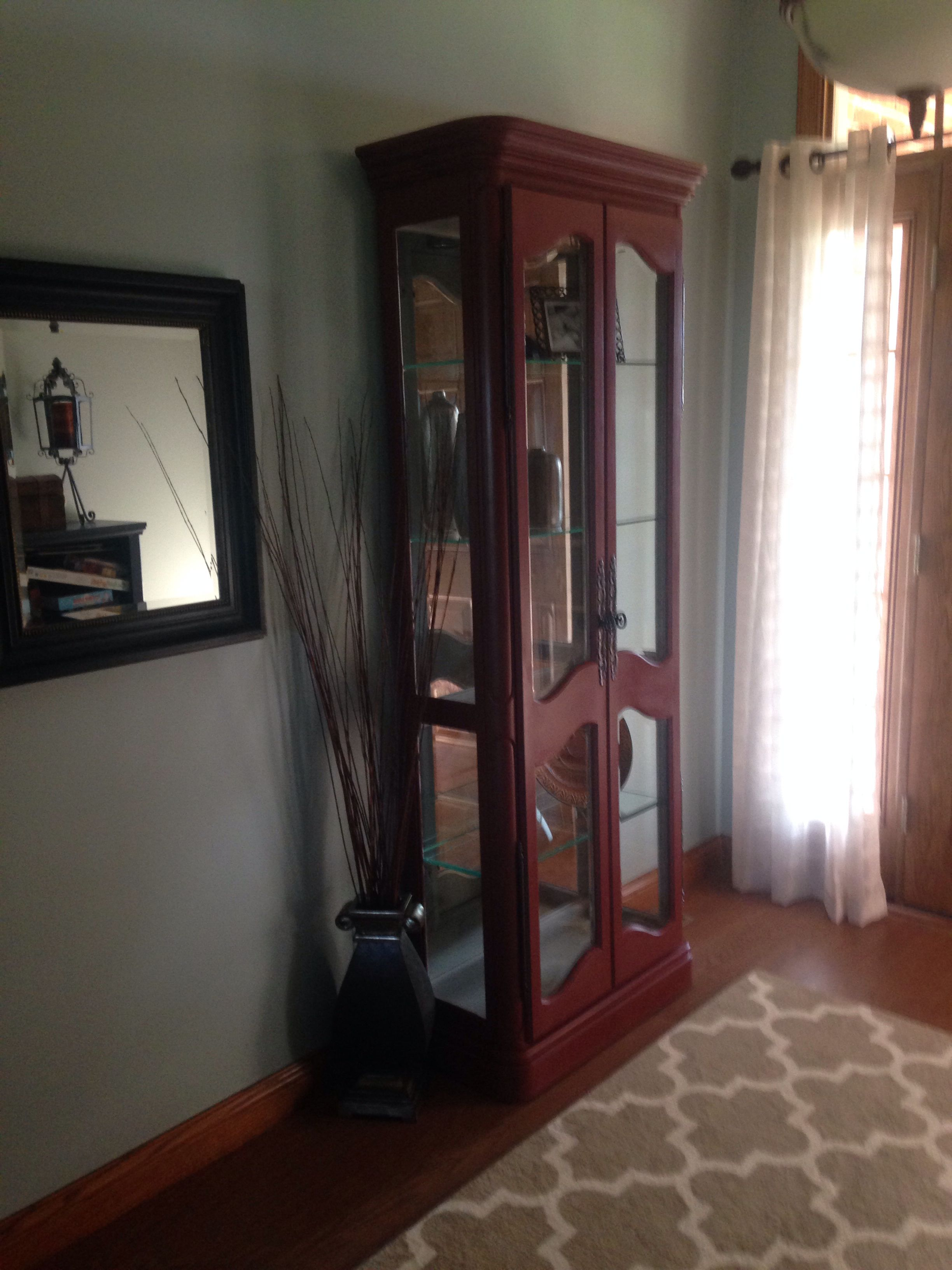 Curio painted with annie sloan chalk paint in primer red for Chalk paint at sherwin williams