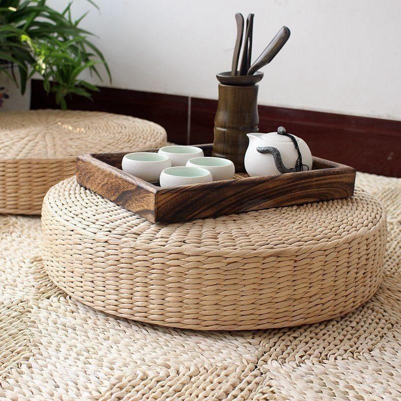 Round 40cm Floor Natural Straw Cushion Floor cushions
