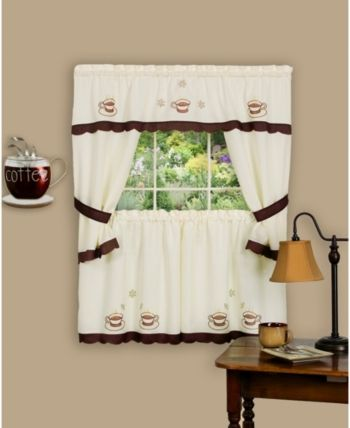 Achim Cuppa Joe Embellished Cottage Window Curtain Set 58x24