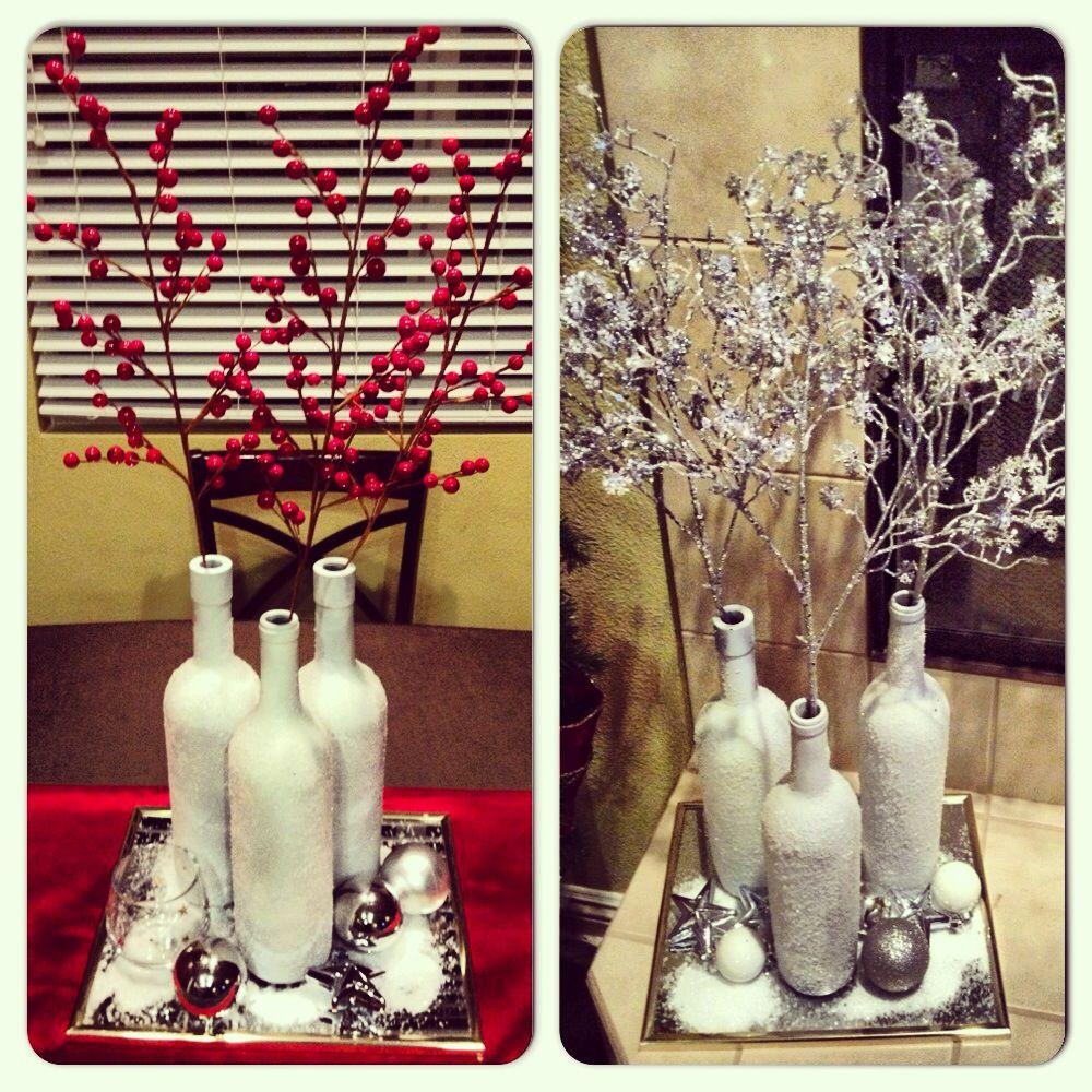 Wine bottle ornaments - Wine Bottle White Primer Adhesive Spray Epsom Salt Mirror Ornaments