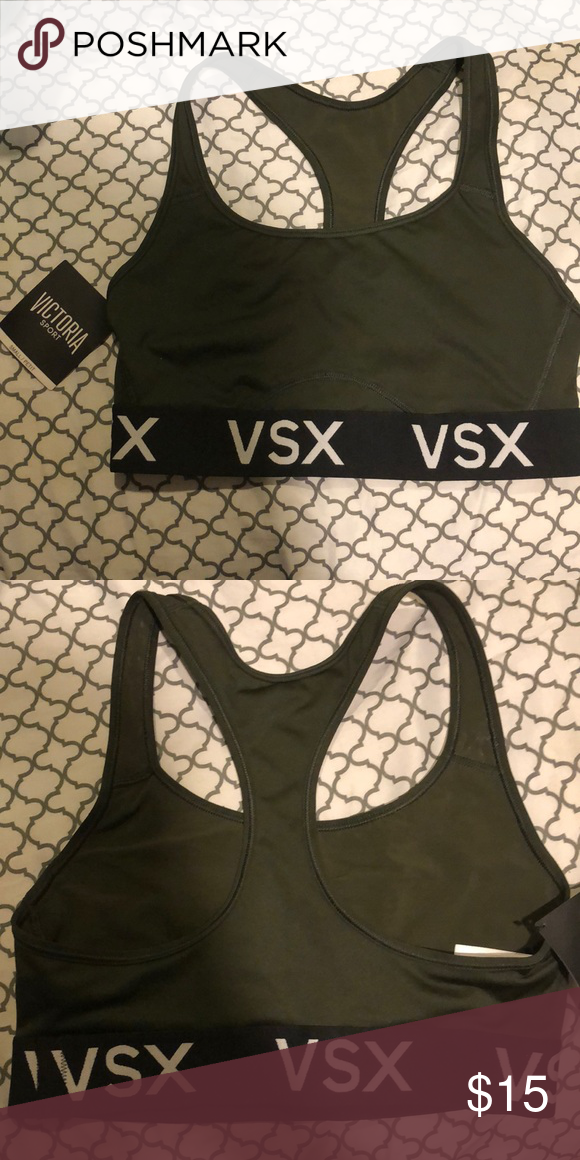 6fbb23a82cd01 Olive Victoria secret sports bra Never worn With tag Petite size small  Victoria s Secret Intimates