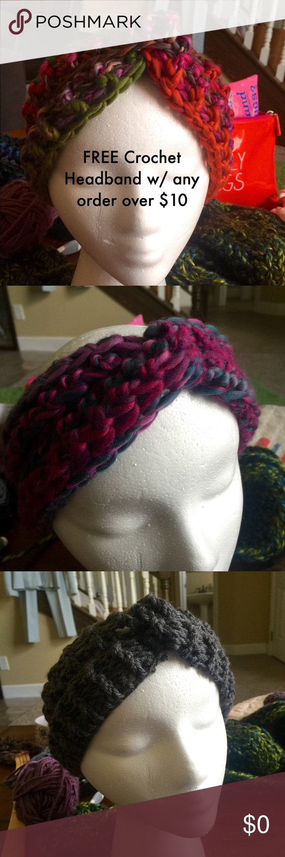 FREE Crochet Headband/ Ear Warmer Get a free handmade crocheted turban-style ear warmer/ headband w/ any $10 purchase Send me a message on your color choice. 901 by Stacey Accessories Hair Accessories