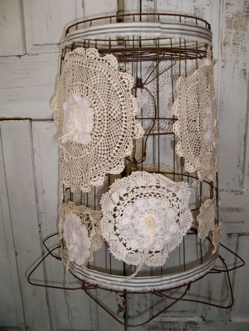 chic hanging lighting ideas lamp. Large Ceiling Fixture Re-purposed Wire Basket Hanging Lamp Shabby Chic Recycled Lighting Anita Spero. $175.00, Via Etsy. Ideas E