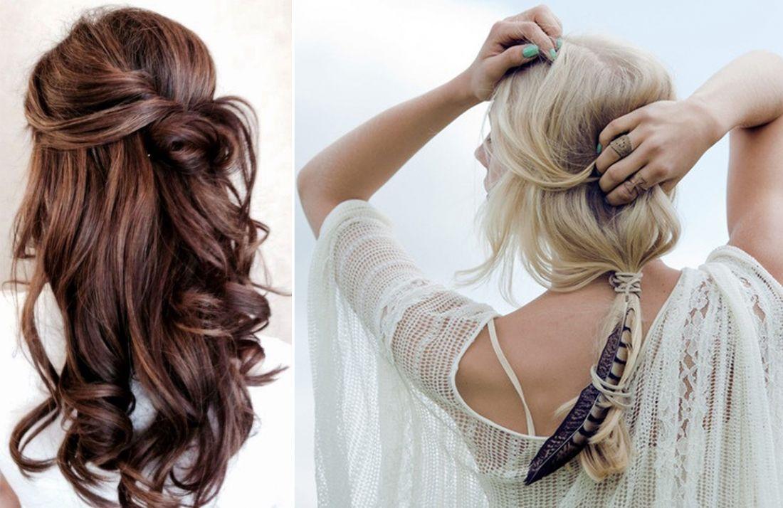 Coiffure femme cheveux mi long fete