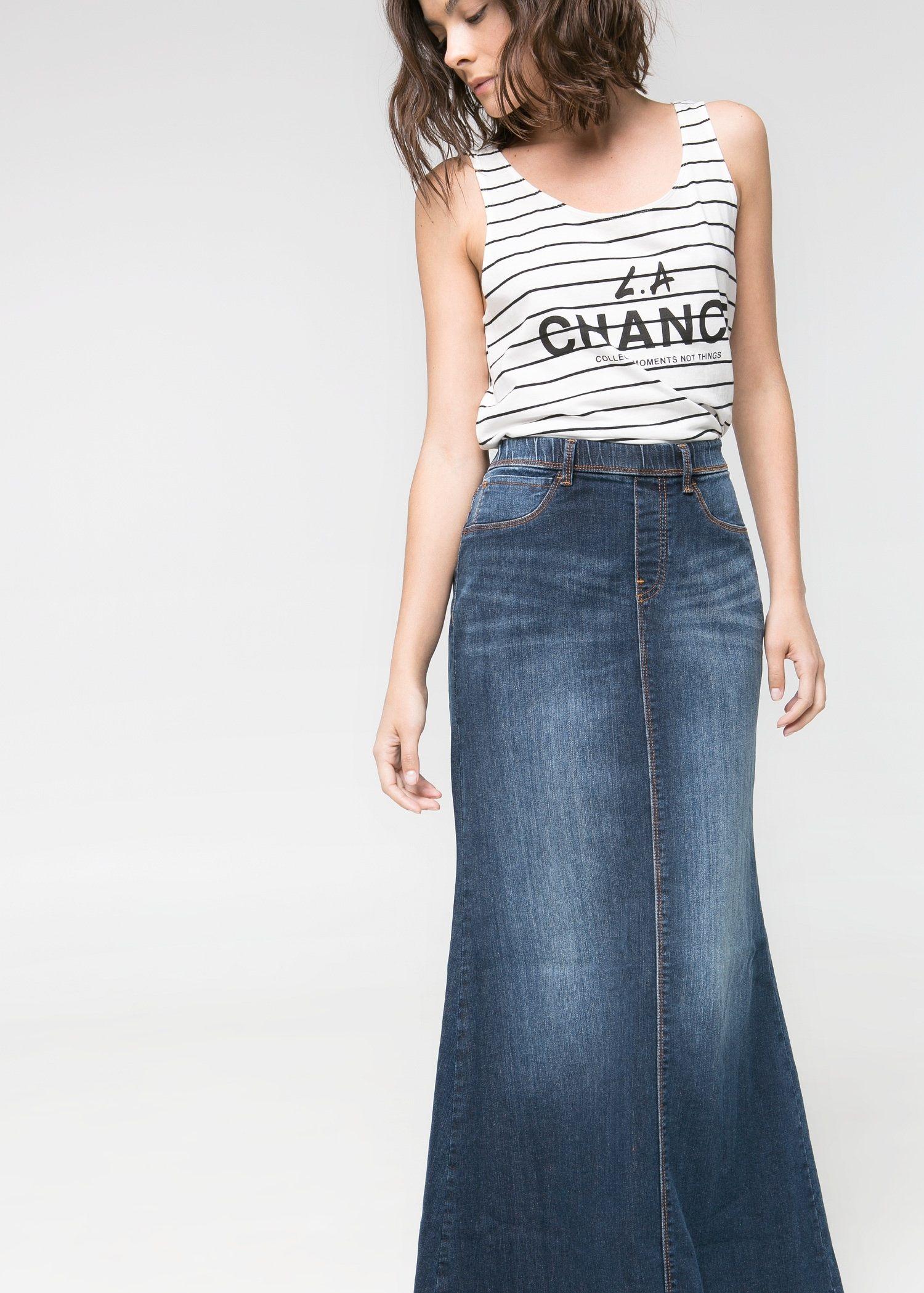 ac416cb640 Falda larga denim - Faldas de Mujer