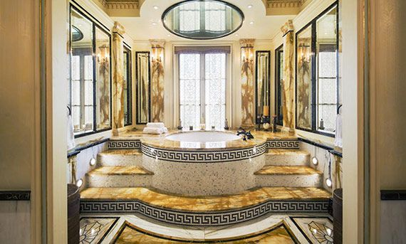 Versace wohnzimmer ~ Our verre églomisé mirrors as seen in master bathroom at the
