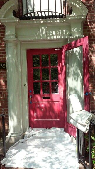 Door striped and primed with FPE red oil primer.