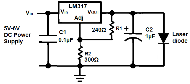 Laserpointerdrivercircuit Consists Of An Lm317voltageregulator Two Resistors Connected In Parallel Laser Diode Battery Push Button Sw Diode Laser Circuit
