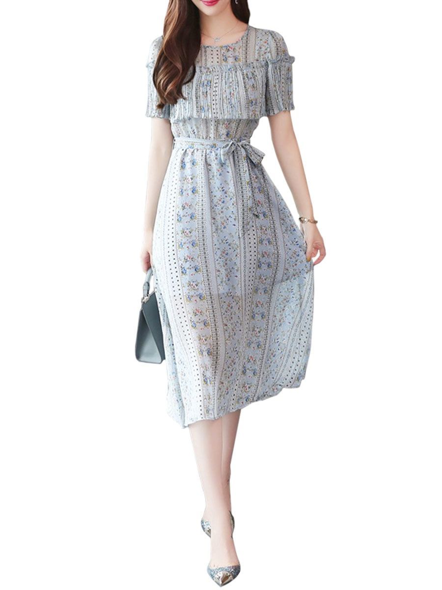 d291c17195ea42 Buy Women s Dress Short Sleeve Floral Cozy Midi Dress   Women s Dresses -  at Jolly Chic