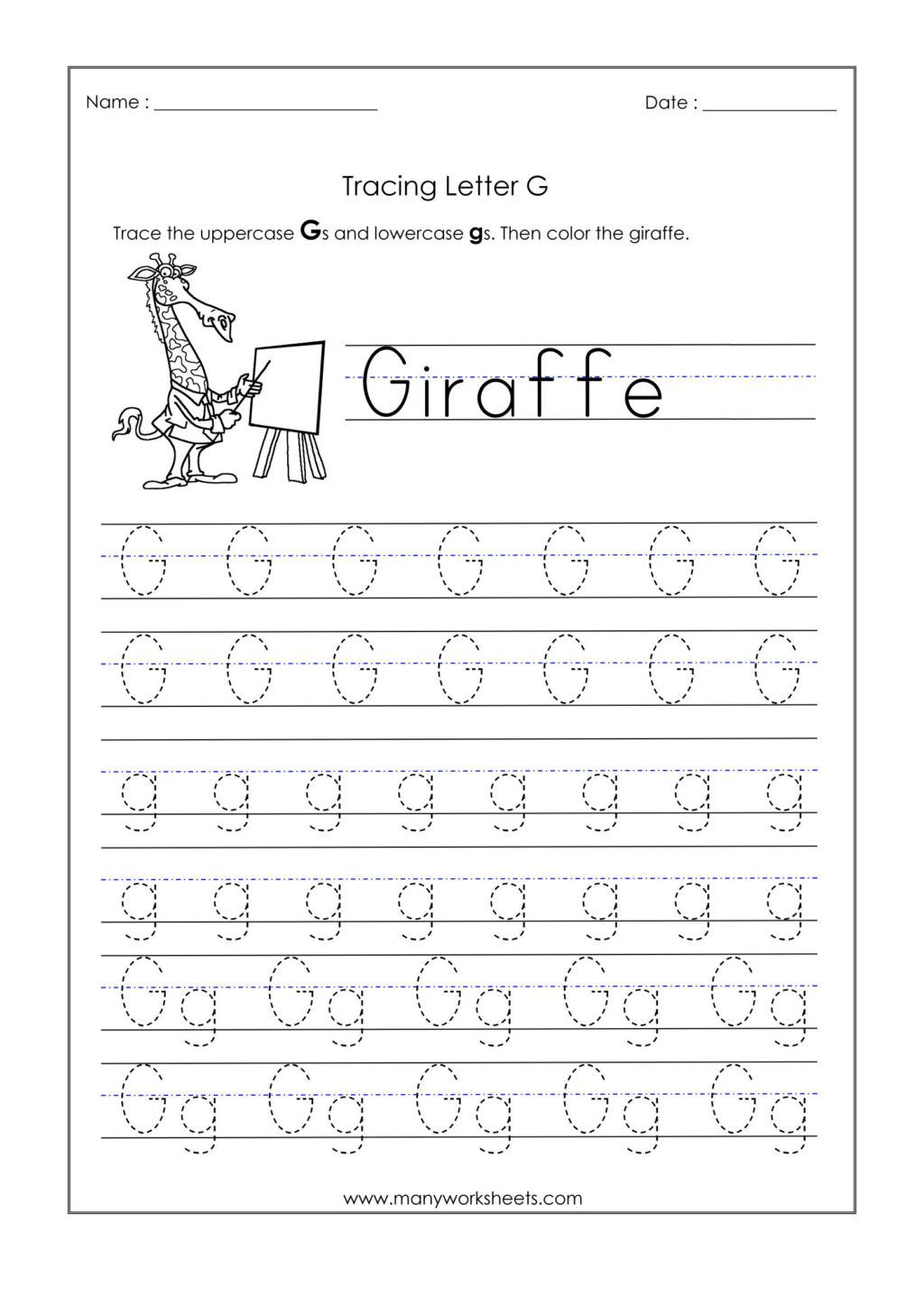 Letter G Tracing Worksheet In