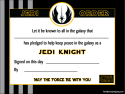 Star wars certificate printable certificate awards for Jedi knight certificate template