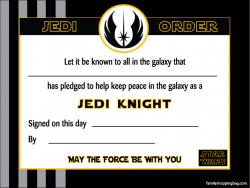 Star wars certificate printable certificate awards for Jedi knight certificate template