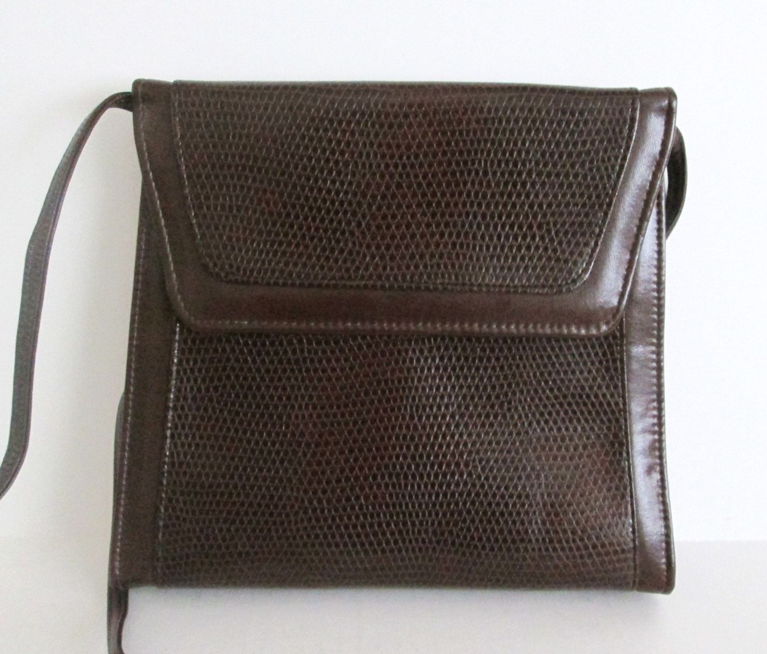New Vintage 80s Brown Structured Purse Reptile Embossed