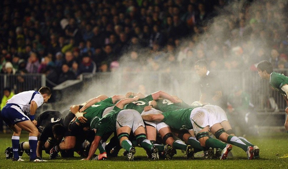 The All Blacks Pack Take On Ireland S In One Steamy Scrum Irish Rugby Team Rugby Photography Ireland Rugby