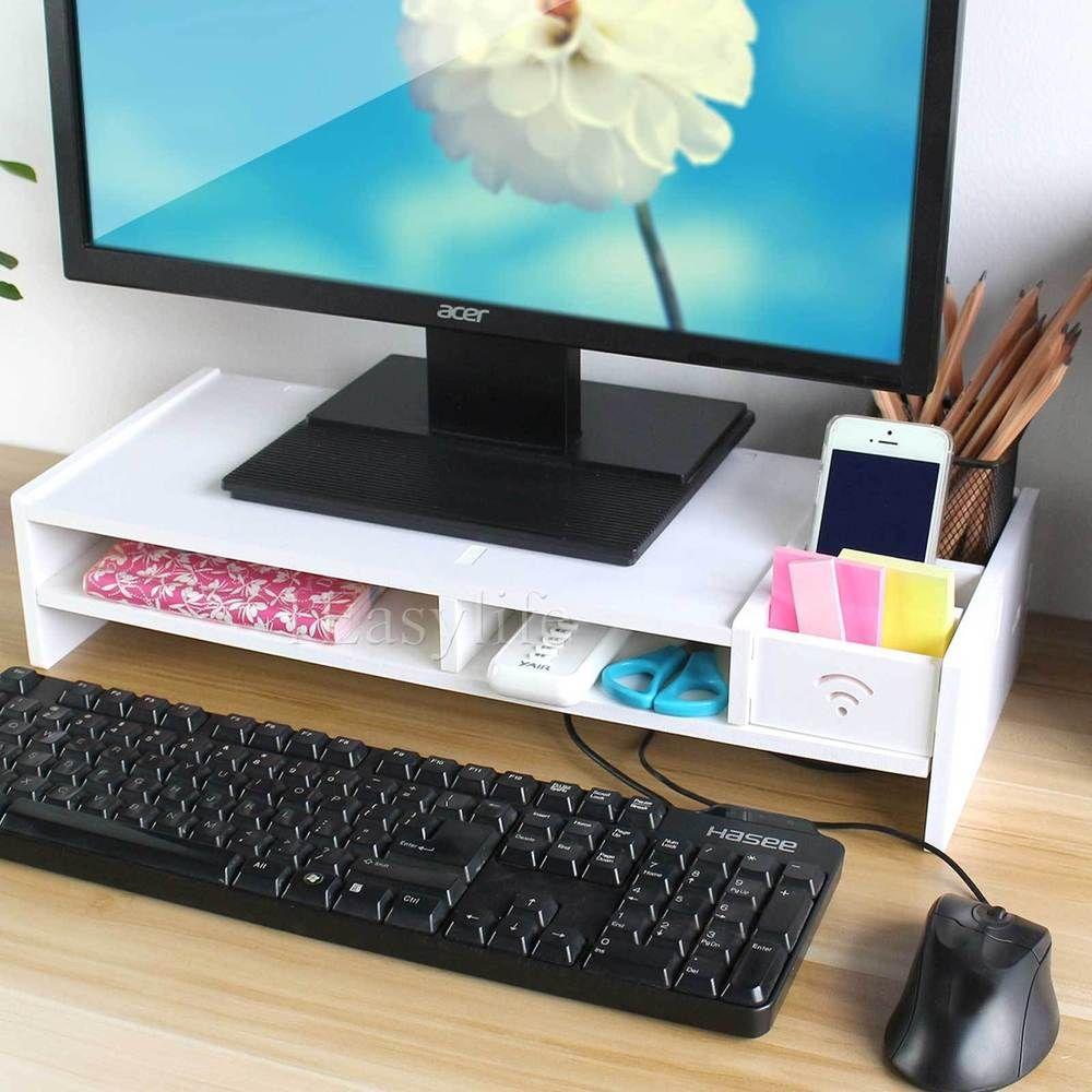 White Desktop Monitor Stand Lcd Tv Laptop Computer Screen Riser