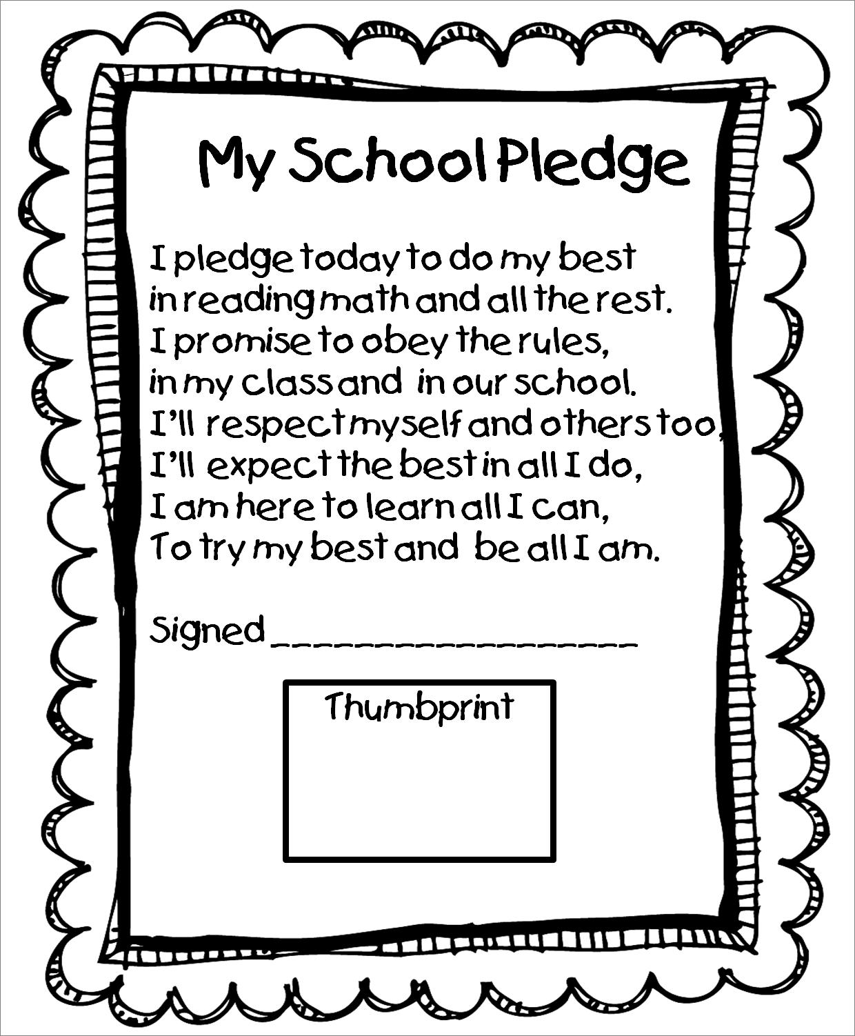 First Grade Wow: beginning of year school pledge. Nice unit to go ...