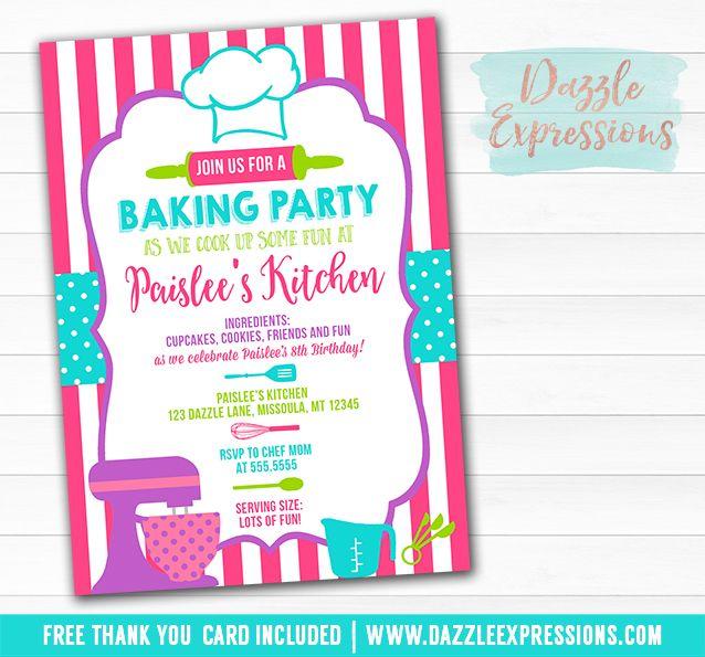 Printable Baking Party Birthday Invitation Chef Party – Kids Cooking Party Invitations