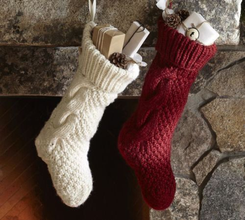 Stockings and Hangers 170091: Pottery Barn Ivory Chunky Cable Hand ...