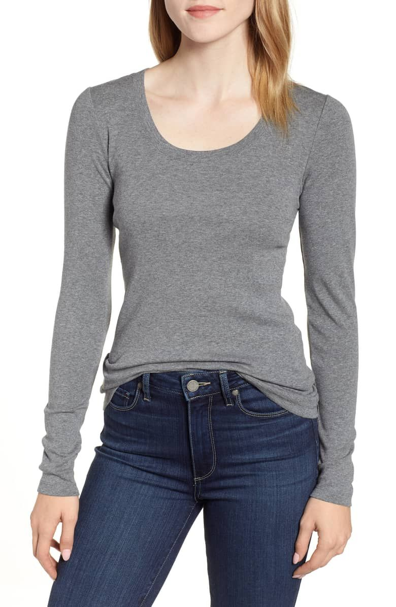 0c231f3b Caslon® 'Melody' Long Sleeve Scoop Neck Tee (Regular & Petite) | Nordstrom