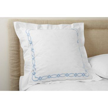 Check out this item at One Kings Lane! Maxwell Euro Sham, White/Blue