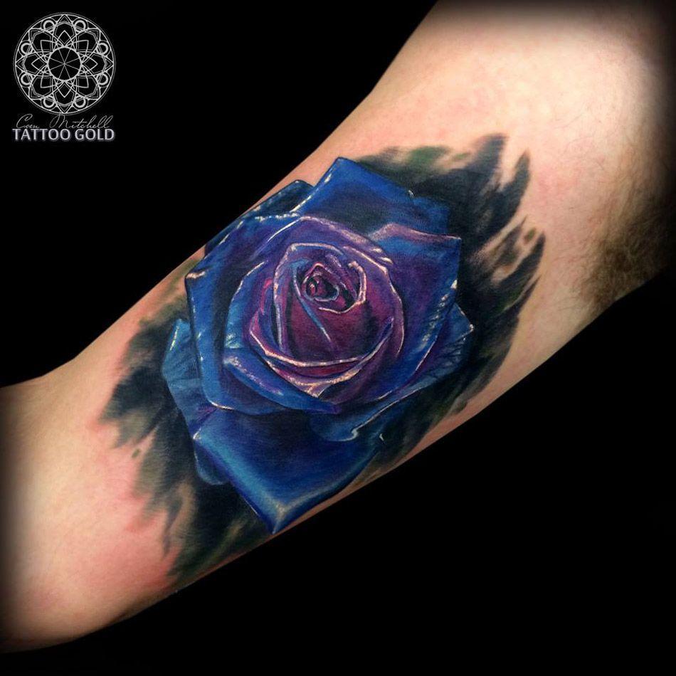 Tattooideasbluerose blue rose armink bicep
