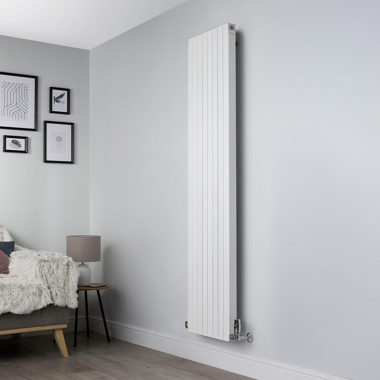 White Vertical Motif Designer Radiator 1750x400mm Geyser Flat Panel Radiators Panel Radiators Feature Wall Living Room