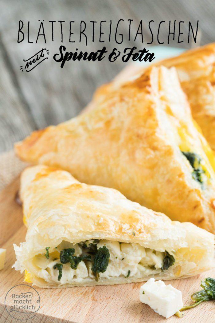Blätterteigtaschen mit Spinat und Feta | Backen macht glücklich