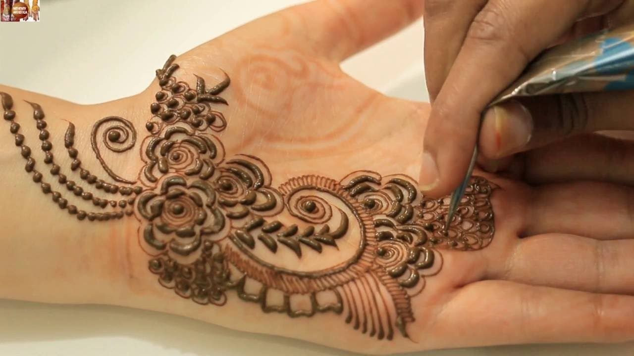 Mehndi Designs Rose : How to apply gulf mehendi designs on palm:dubai rose petals mehndi
