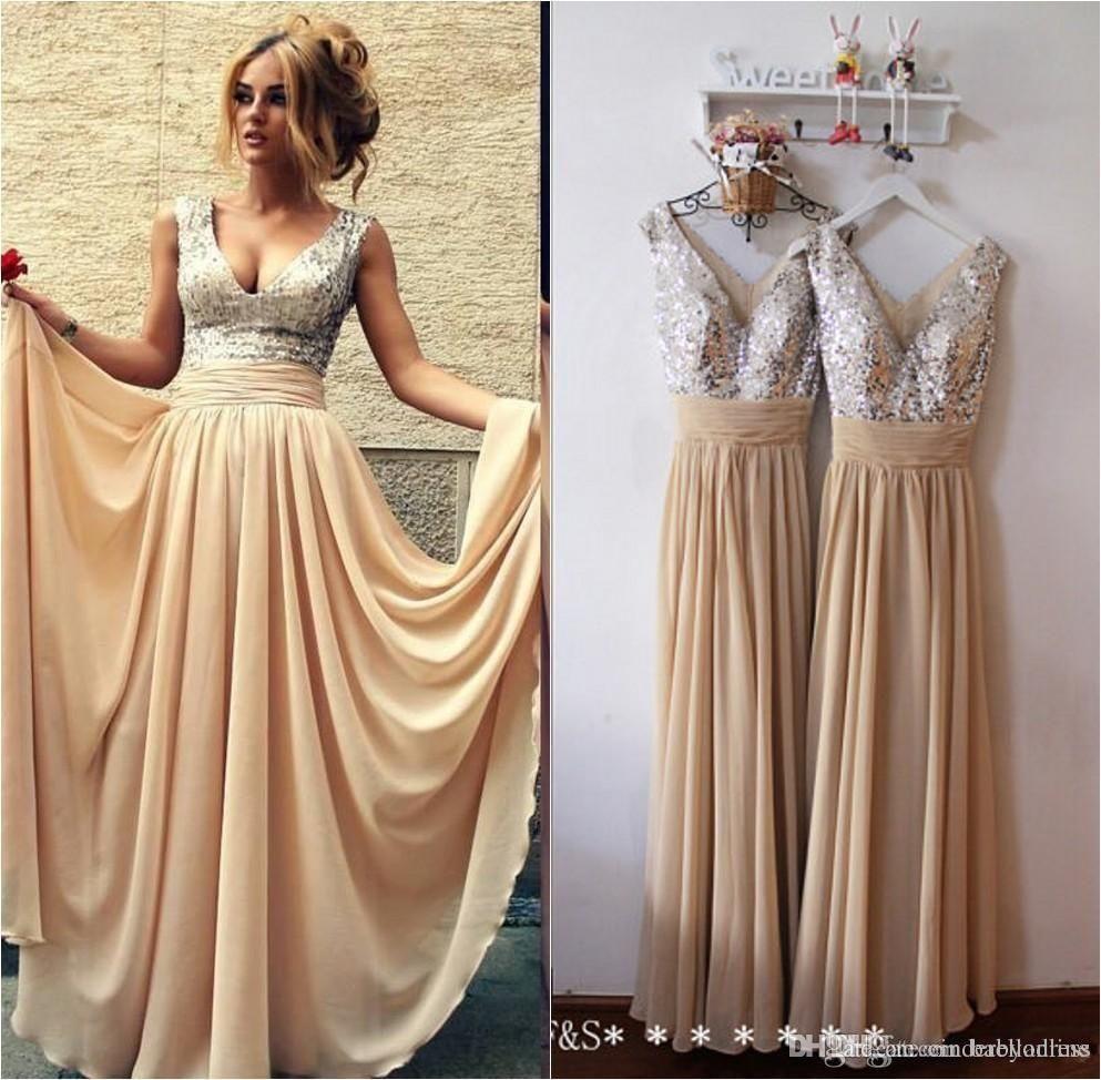 Under cheap sequined metallic bridesmaid dresses long v