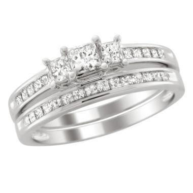 T W Princess Cut Diamond Three Stone Bridal Set