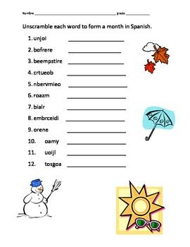 Printables Printable Spanish Worksheets months in spanish worksheet versaldobip versaldobip
