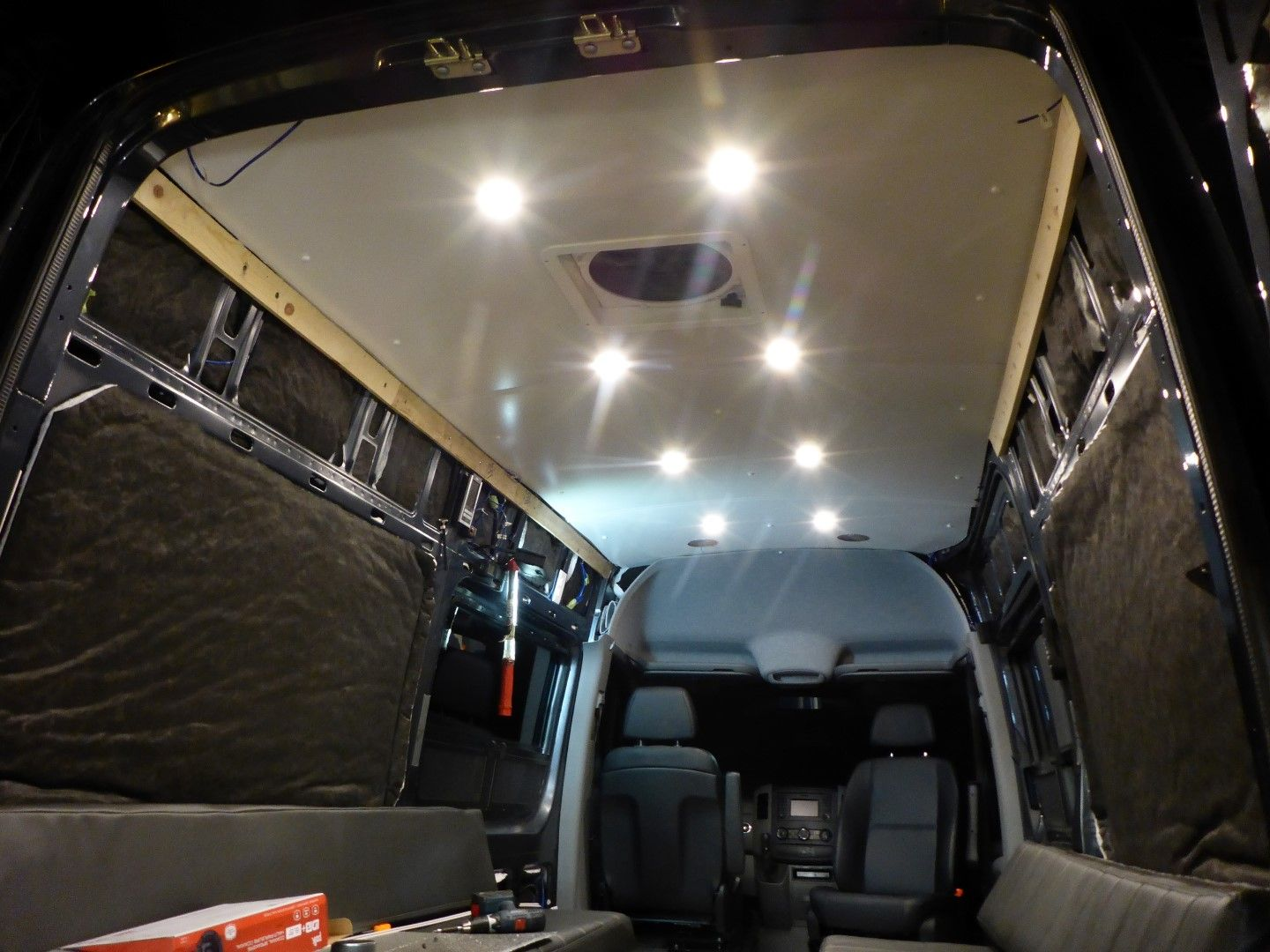 Sprinter Van Ceiling Install White Clean And Simple Sprinter Van Sprinter Van Conversion Roof
