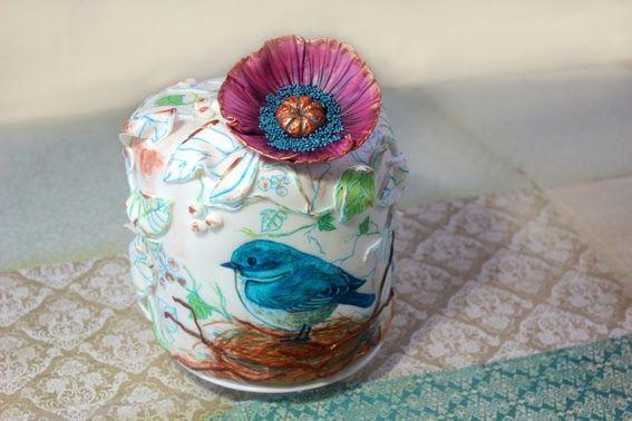 Bird Painted Cake, I love this cake. All by SweetKOKEKO